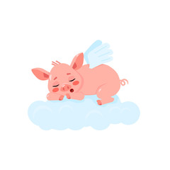 Cute little pig with wings sleeping on the cloude. Vector illustration isolated on white background