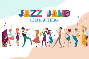 Jazz concert or festival poster template with characters playing musical instruments. Editable vector illustration