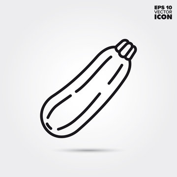 Zucchini gourd vegetable vector line icon