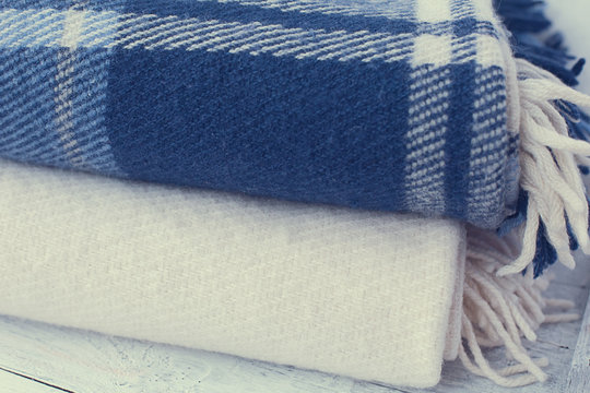 warm wool blankets blue and white