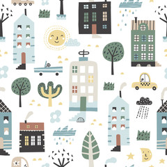 Cute childish seamless pattern with buildings, road, transport, abstract trees. Good for kids fabric, textile, nursery wallpaper. Seamless city landscape. Scandinavian style