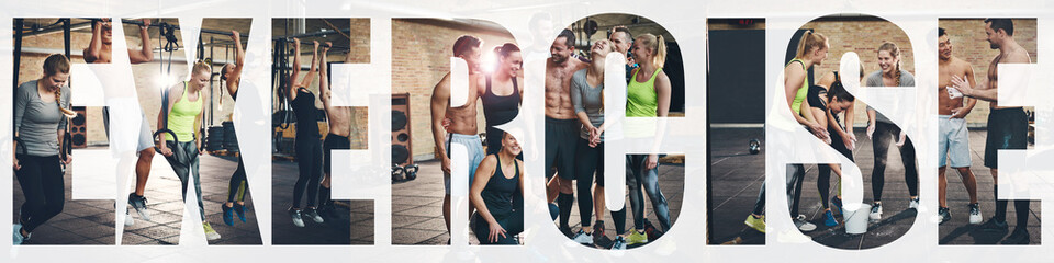 Collage of smiling young people exercising at the gym Wall mural