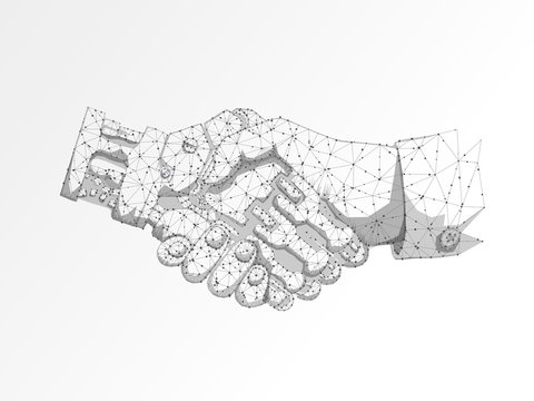 Business human and robot hands shake. Polygonal space low poly with connecting dots and lines. Future wireframe concept. Connection structure. Vector science illustration on white background