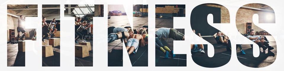 Collage of fit people exercising together during a gym session