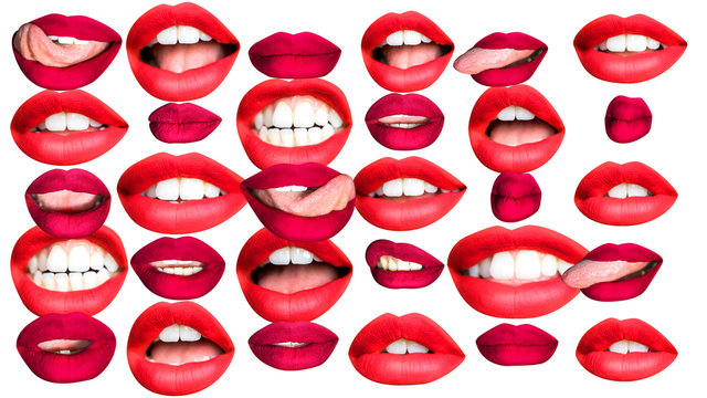 beautiful cutout lips in different colours