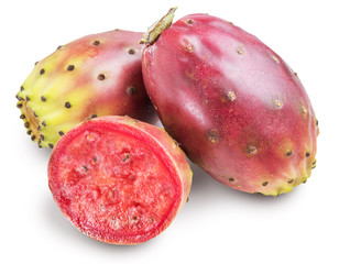 Aluminium Prints Fruits Prickly pears or opuntia fruits on white background. Clipping path.