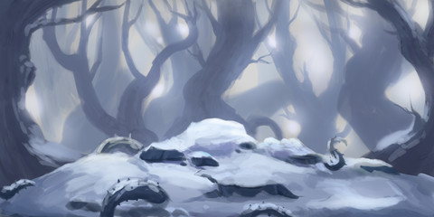 Snow Forest. Fiction Backdrop. Concept Art. Realistic Illustration. Video Game Digital CG Artwork. Nature Scenery.