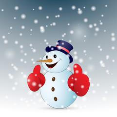 Positive cartoon snowman with snow. Vector illustration.