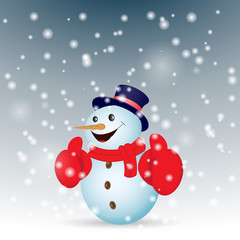 Positive snowman with snow. Vector illustration.