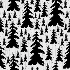Vector Illustration. Seamless Doodle christmas tree icon. Winter trees poster for design on wood background