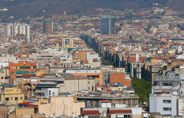 Cityscape view of La Rambla, the pedestrian-lined street in Barcelona, Spain