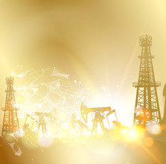 Oil pumps and derricks. Industrial image with golden style. Vector illustration.