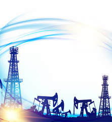 Oil field with derricks and pumpd over blue sky background. Vector illustration.