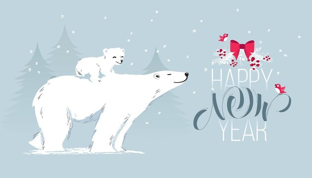 Happy new year and merry christmas cute cartoon greeting card with bear mom, cub and pine trees. Vector illustration