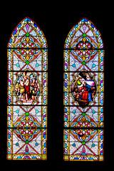 Munster. Les vitraux de l'église catholique Saint Léger . Alsace. Haut-Rhin. Grand Est