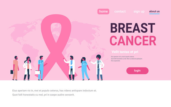ribbon breast cancer day mix race male female doctors group forum communication concept disease awareness prevention poster woman man cartoon character horizontal copy space flat