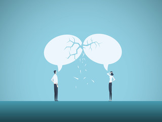 Business communication breakdown vector concept. Symbol of misunderstanding, negotiation problems, miscommunication, argument.