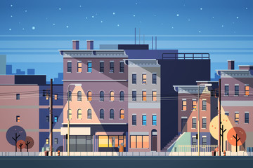city building houses night view skyline background real estate cute town concept horizontal flat