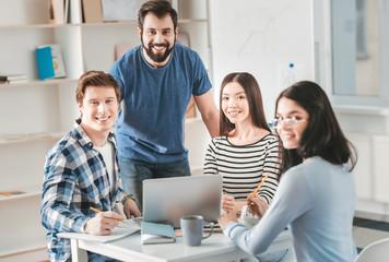 Four creative businessmen thinking about original startup