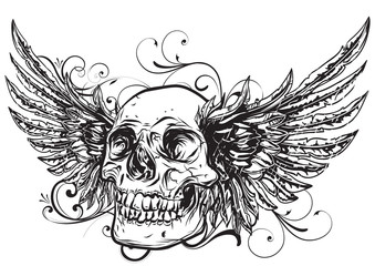 Human skull with wings for tattoo design. vector illustration