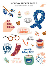 Cute nordic autumn and winter elements. Isolated on white background. Motivational typography of hygge quotes. Scandinavian style illustration good for stickers, labels, tags, cards, posters. Vector