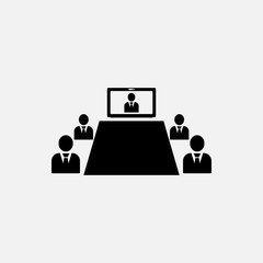 Video conference icon. Video meeting, chat symbol. Flat design. Stock - Vector illustration.