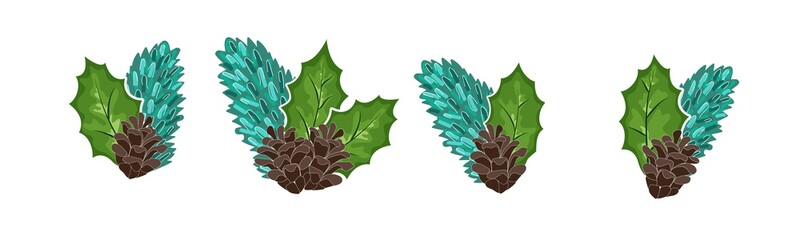 cones, leaves and fir branches, isolated objects. Vector illustration. Traditional Christmas decoration in flat design.