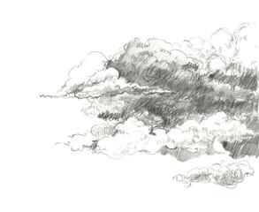 Pencil clouds. Hand drawn illustration.