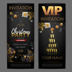 Christmas poster with golden champagne glasses. Invitation design. Pyramid of champagne glasses