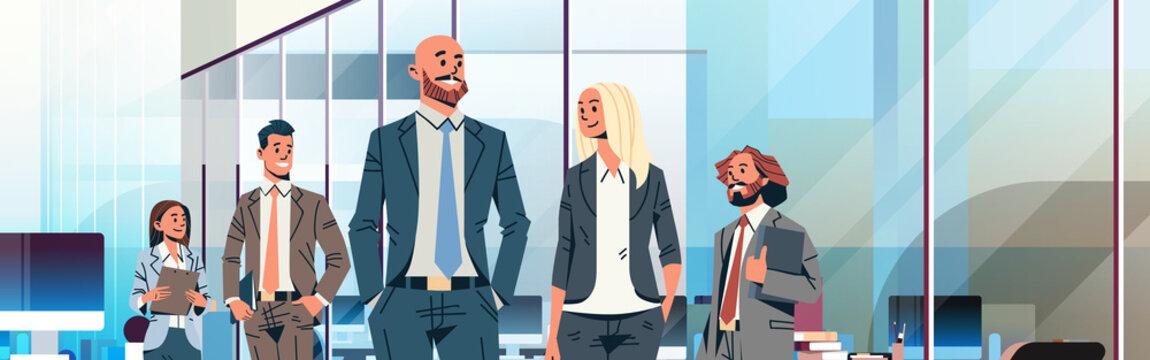 business people team leader leadership concept businessmen women modern office interior male female cartoon character portrait horizontal banner flat