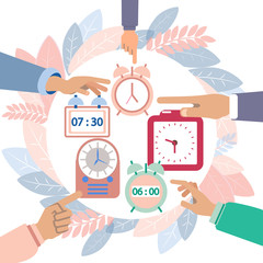 Hands turn off alarms. Colorful flat style. Cartoon vector illustration