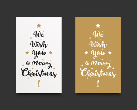 We wish you a merry christmas text in hand writted design with gold and white colors. Festive holiday cards.