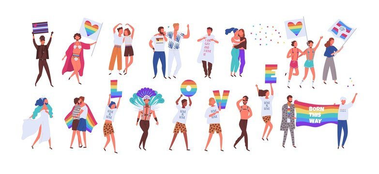 Crowd of people taking part in pride parade. Men and women at street demonstration for LGBT rights. Group of gay, lesbian, bisexual, transgender activists. Colorful vector illustration in flat style.