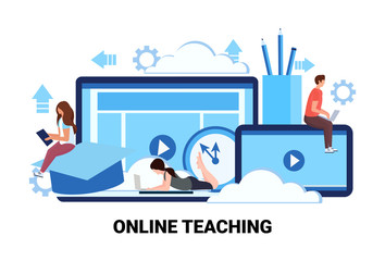 people studying computer application training courses education online teaching business concept man woman students learning process cartoon character flat horizontal