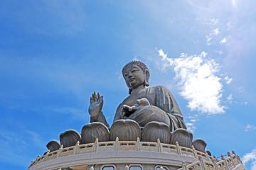 Outdoor bronze statue of  seated Tian Tan Buddha in Hong Kong