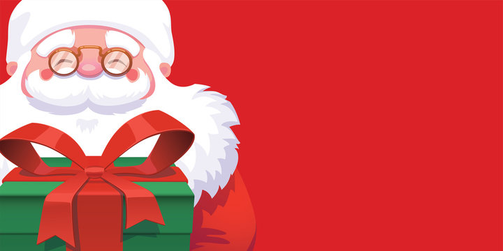 Smiling Santa Claus face and green gift box on red background