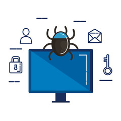 computer with bug and security icons