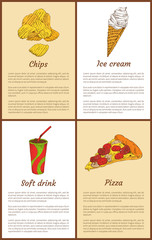 Chips and Ice-Cream Posters Vector Illustration