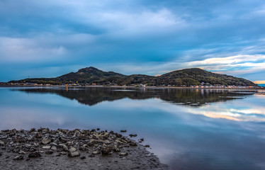 Evening view of Fukuoka west ward Zuibaiji river estuary and mountains HDR picture