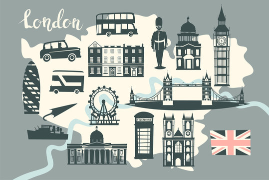 London illustrated map vector. Skyline silhouette Illustration, gray color.  Abstract colorful atlas poster. Illustrated abstract map of London, England