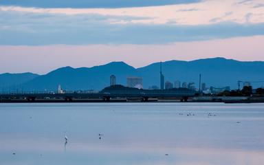 Fukuoka city in Japan, winter landscape from west ward