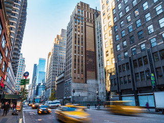 Foto auf AluDibond New York TAXI ニューヨーク マンハッタンの朝