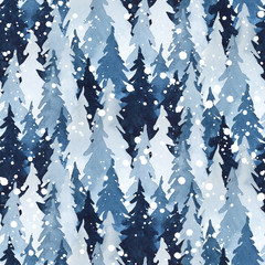 Watercolor seamless pattern with indigo blue pine trees and snow. Christmas and New Year decoration