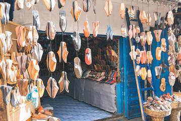 Handmade footwear shop in a morocco market