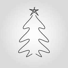 Christmas tree isolated vector icon