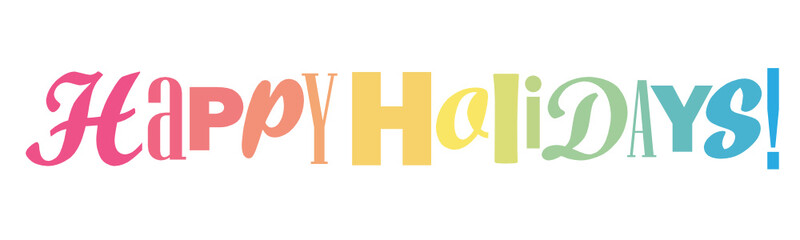HAPPY HOLIDAYS colorful typography banner