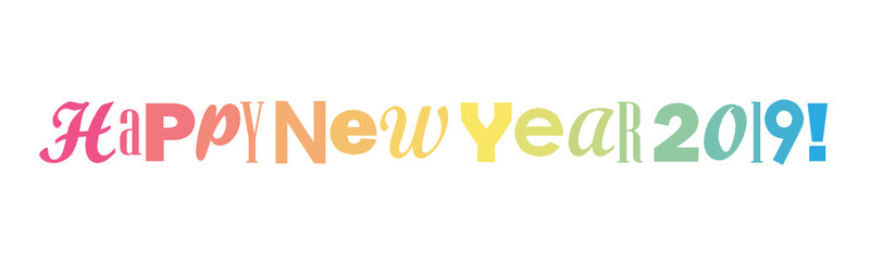 HAPPY NEW YEAR 2019 colorful typography banner