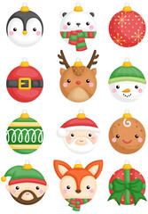 a vector set of cute christmas animals and characters bals decoration