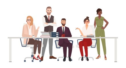 Team of smiling office workers sitting at desk and discuss work issues. Male and female managers at brainstorm meeting. Cartoon characters isolated on white background. Flat vector illustration.