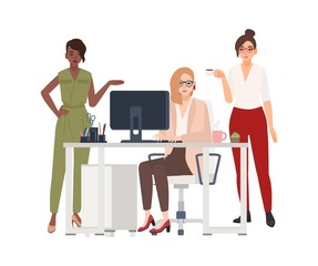 Group of female employees or managers at office - working on computer, drinking coffee, discussing work issues. Cartoon characters isolated on white background. Vector illustration in flat style.